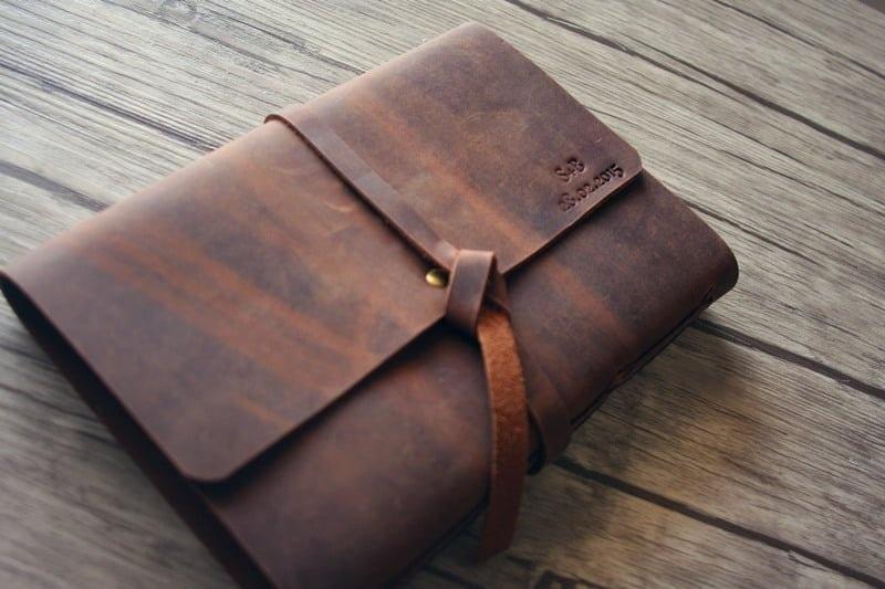 brown leather scrapbook album